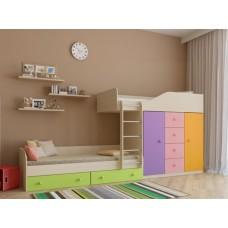 Двухъярусная кровать для детей со шкафом Астра-6 Дуб Молочный