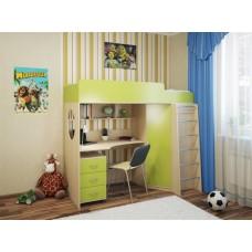 Детская кровать-чердак с рабочей зоной и шкафом Милана-3 Дуб