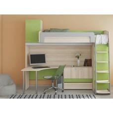 Детская кровать-чердак со шкафом внизу Киви К8