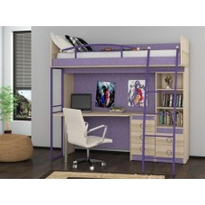 Детская кровать-чердак со столом и шкафом Индиго К6