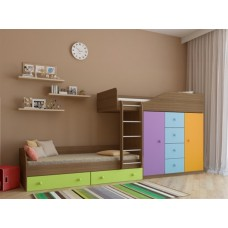 Двухъярусная кровать со шкафом Астра-6 Дуб Шамони