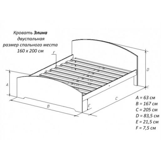 Двуспальная деревянная кровать Элина-2