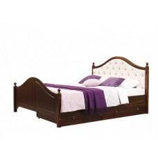 Двуспальная кровать с мягким изголовьем Кая 2-2 М с ящиками