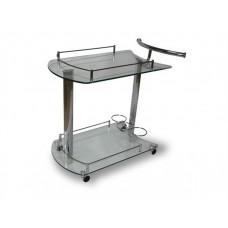 Сервировочный столик из стекла на колесиках Голди