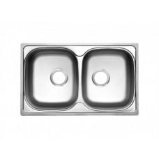 Прямоугольная врезная мойка с двумя чашами Юкинокс Классик 780х480 20 ПЛ
