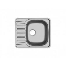 Прямоугольная врезная мойка с коротким крылом Юкинокс Комфорт 580х488 матовая Левая