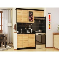 Глянцевый кухонный гарнитур Сакура П-1 160 см